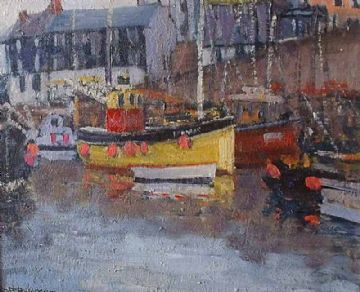 David Rylance Original Oil Painting Of A Harbour Scene